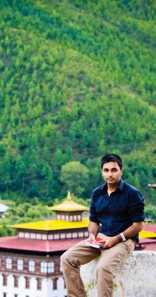Sai Karthik Reddy Mekala from Romancing The Planet at Trashi Chhoe Dzong in Thimphu, Bhutan