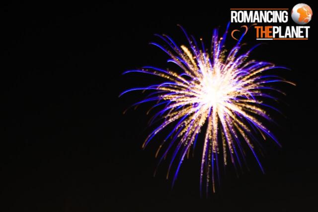 Trails of fireworks using long shutter speed