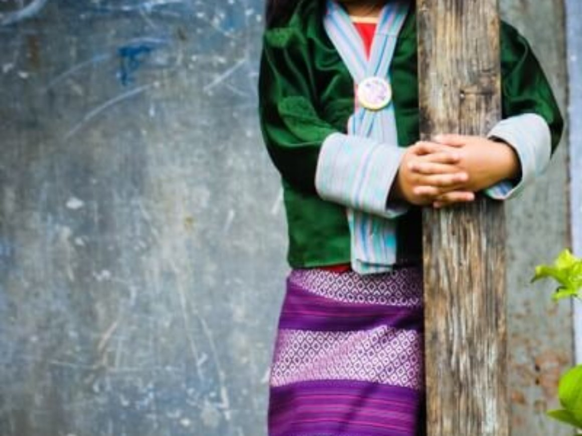 The traditional dress for women in Bhutan known as Gho