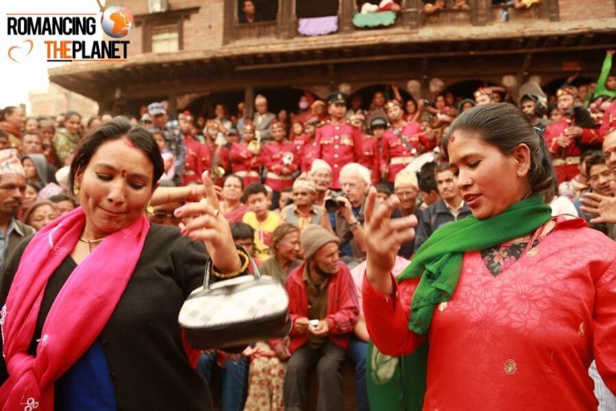 Women dancing on the eve of bisket jatra in nepal
