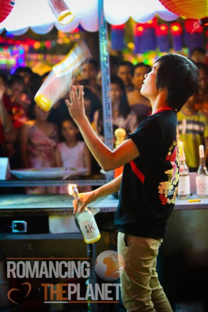 Bartender showing off his skills, Nha Trang
