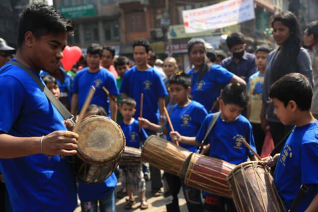 People playing drums in Kathmandu Durbar Square