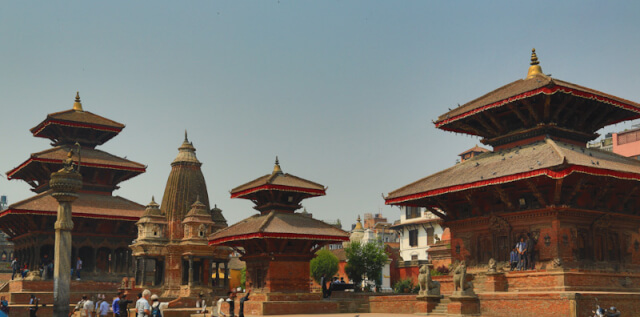 View of Patan Durbar Square from the Golden Gate