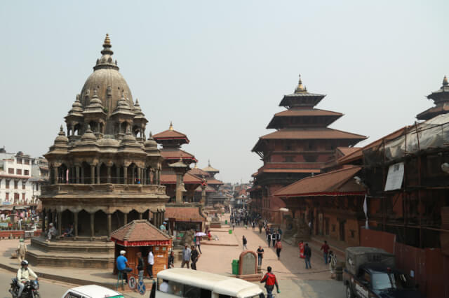 View of Patan Durbar Square from Si Taleju restaurant
