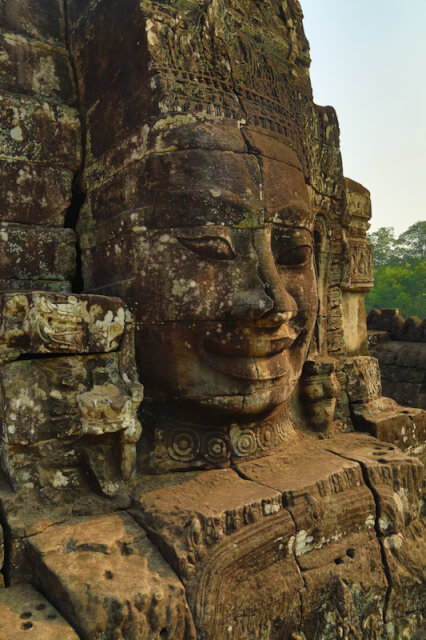 The face of Jayavarman VII are carved on the towers