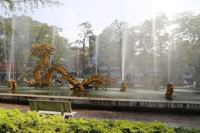 A dragon shaped water fountain in Cholon