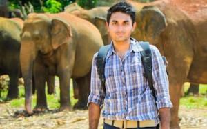 Sai Karthik Reddy Mekala from Romancing The Planet at Pinnawala Elephant Orphanage in Sri Lanka