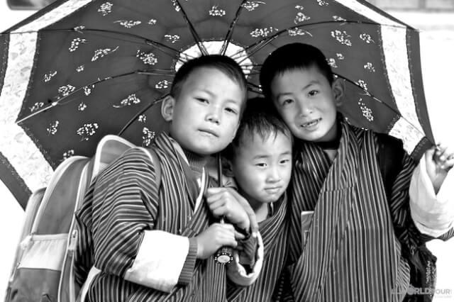 Children Under Umbrella - Bhutan