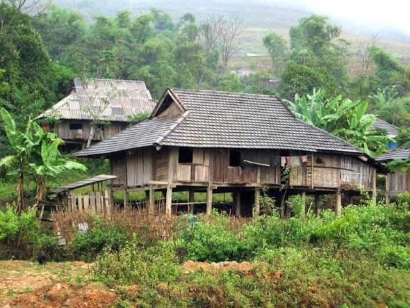 Stilt house in a village