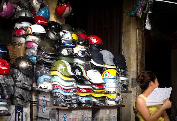 Women selling helmets in Vietnam