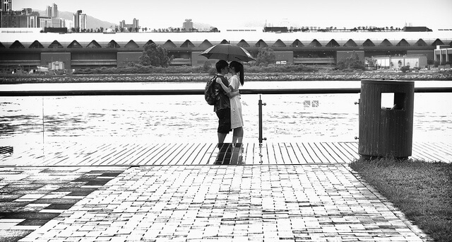 A couple in Hong Kong