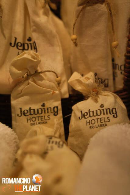 Toiletries provided in jute bags