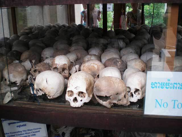 Skulls of the people who were killed during the Khmer Rough, are displayed at the Toul Seng Genocide Museum